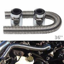 """36"""" Radiator Hose Upper / Lower & Flexible Stainless Steel w/ Chrome Caps Kit"""
