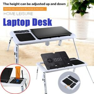 New Foldable Table Laptop Lap Desk E-Table Bed w/ USB Cooling Fans Stand TV Tray