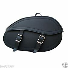 "MOTOR BIKE MOTORCYCLE LEATHER SADDLE BAG UNIVERSAL FIT ""NEW"""