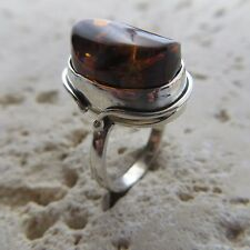 Size 7 1/2, Size 56, Size 7.5 Cognac Baltic Amber Ring, Sterling Silver #0698