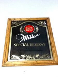Miller beer sign mirror vintage special reserve wall reverse glass style old KD3