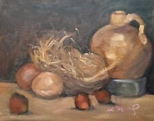 "Original one of a kind oil painting, monochromatic still life nest and jug 8""x10"