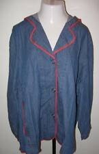 NWTS ULLA POPKEN Unlined Denim Relaxed Fit Hooded Jacket XL 12 14