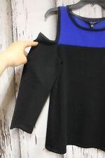 Cable Gauge1467 Women Size M $60 Top Blue Black Open Shoulder Knit Long Sleeve