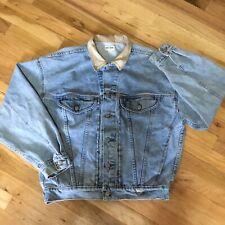 Vintage 80s 90s Guess Jeans Leather Collar Denim Jacket Medium