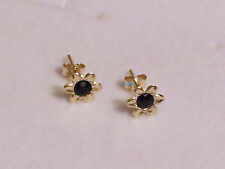 New Ladies 9ct 9Carat Yellow Gold Flower Sapphire Studs Earrings 7mm Hallmarked