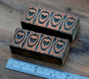 letterpress printing blocks ornament Art Nouveau frame wood rare copper Deco ..