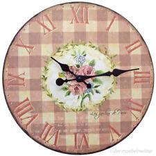 Küchenuhr Wanduhr Landhausstil Holz Blumen Uhr Quartzuhr Rosen Rot zum Aufhängen