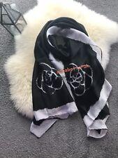 Fashion Ladies Women Rose Black White Faux Skill Scarf Scarves Shawl Wrap New UK