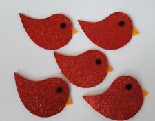 5 x Red Glitter Felt Bird Scrapbooking 7 x 4.5cm / Embellishment / Craft /DIY