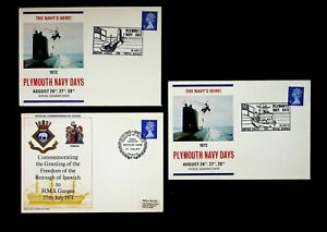 GB 1971/ 72 PLYMOUTH NAVY DAYS/ HMS GANGES 3 ILLUSTRATED COVERS W/ 3v QEII