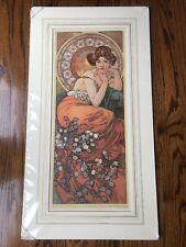 Alphonse Mucha Art Nouveau Print La Topaze With Matte 29x16 Red Hair Lady Woman