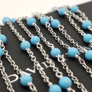 David Yurman Sterling Silver 4mm Bijoux Turquoise Toggle 60' In Chain Necklace