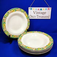 "A J Wilkinson - 6 x Art Deco Rimmed Bowls (9"") Vintage 1930s Green & Yellow"