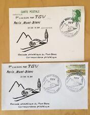 FRANCE 1984 - PREMIER JOUR  TGV  Paris Mont Blanc -   CARTE + ENVELOPPE  -