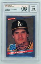 Jose Canseco 1986 Donruss Rated Rookie Autograph 86 AL ROY Baseball Card BAS 10