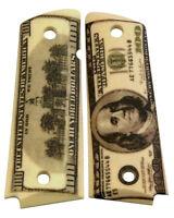 Custom Full Size 1911 Grips Ambidextrous Money Benjamins $100 Bill for Colt etc.