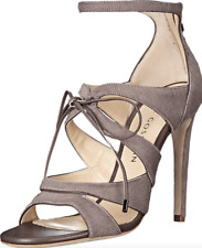 Chloe Gosselin Bryonia Womens Taupe Calf Hair High Heel Sandals Sz 40 EUR 7493
