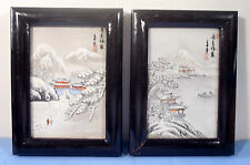 Vintage hand painted winter landscape porcelain bas relief frame early 1900s