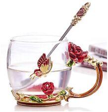 Luxury Unique Set Glass Tea Coffee Cup Mug Red Rose Vintage Enamel Lady Gift Box