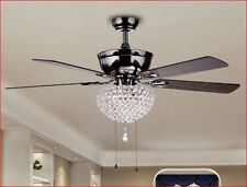 Ceiling Fan with Lights 52 Inch For Master Bedroom With Chandelier Crystals Glam