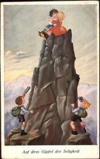 Children Mountain Climbing Romance Kids w/ Binoculars c1910 German Postcard