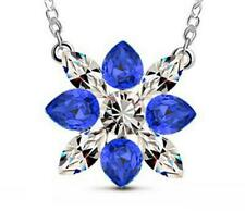 Fashion Womens Blue Crystal Rhinestone Silver Chain Pendant Necklace Charm NEW