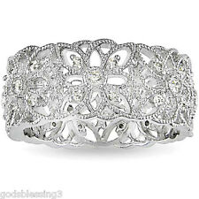 PLATINUM & SS DIAMOND & ENGAGEMENT BAND RING SZ 5 SZ 6 SZ 7 SZ 8 SZ 9 + GIFT