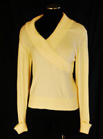 CHIC Ivory Soft Stretchy Ribbed Collar Versatile Pullover Sweater Top Shirt L