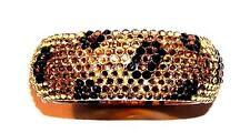 & Gold Medium Rhinestone Bangle Bracelet Glamorous Cheetah Print Black