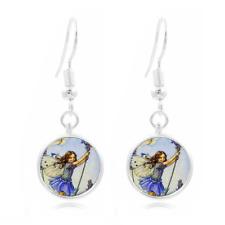 Fairy Dreamcatcher Tibet Silver Dome Photo 16MM Glass Cabochon Long Earrings#117