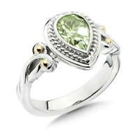 Colore SG Sterling Silver 18K Yellow Gold Green Amethyst Ring Sz 7 Retails $200