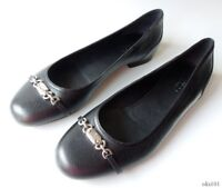 GUCCI shoes silver chain LOGO black leather FLATS 38.5 8.5 very comfortable new