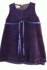 Monsoon Girls Purple Velvet Dress, 2 Years, Lined