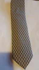 Brioni Geometric Diamonds100% Smooth Satin Silk Tie Gray Gold Black NWOT