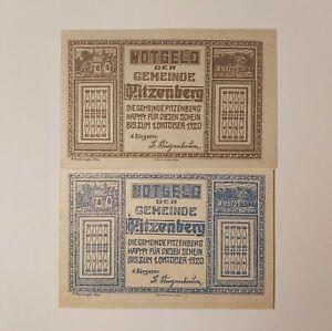 Austria Notgeld Pitzenberg 20 50 Heller 1920 2PCS Banknote Paper Money UNC
