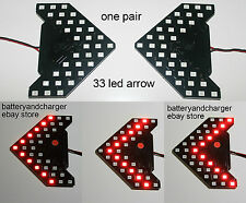 2 Red 33-SMD Sequential LED Arrows for Car Side Mirror Turn Signal Lights