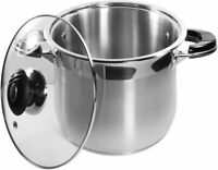 Stainless Steel Heavy Duty Tri-Ply Encapsulated Base Gourmet Stock Pot glass lid