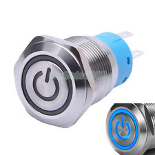 19mm 12V Blue LED Momentary Push Button Switch 1NO1NC Stainless Steel Waterproof