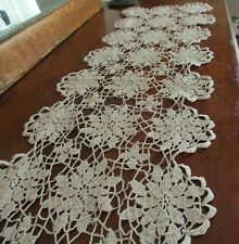 "55 ""Long Crochet Lace Altar Cloth Buffet Table Mantle Runner Dresser Scarf"
