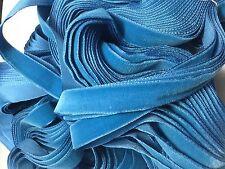 Vintage French Rayon VELVET Ribbon Taffeta Back - BLUE by the yard 5/8 inch
