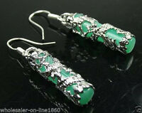 Fashion Jewelry Imperial Inlay Natural Green Jade Dragon 925 Silver Earrings
