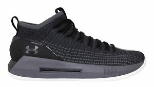 Under Armour UA Heat Seeker Black Grey Lace Up Basketball Shoes Trainers Mens