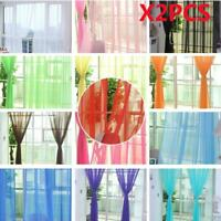 1/2 PCS Valances Tulle Voile Door Window Curtain Drape Panel Sheer Scarf Divider