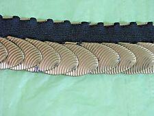 "Wide Cinch Elastic Belt Metal Disc Gold Plated Disco Steampunk Belt Fits 30-44"""