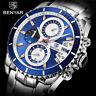 BENYAR Men's Quartz Wrist Watch Luxury Stainless Steel Band Military Watches