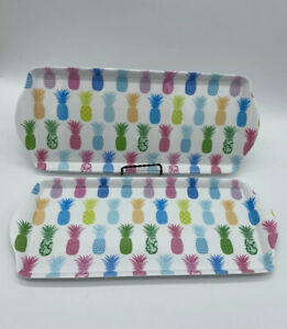 2 Cynthia Rowley Melamine Indoor Outdoor Sandwich Trays TROPICAL PINEAPPLES