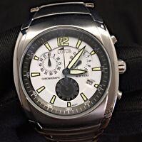 Lotus Steel 9922 Chrono Cronograph calendar watch reloj NOS nuevo 38 mm black