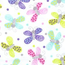Fabric Butterflies Multi-Colored & Dots on White Flannel by the 1/4 yard BIN