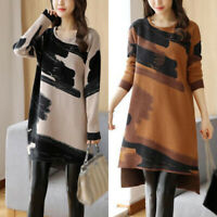 Womens Long Sleeve Dress Printed Plus Size Loose Sweater Pullover Casual Work